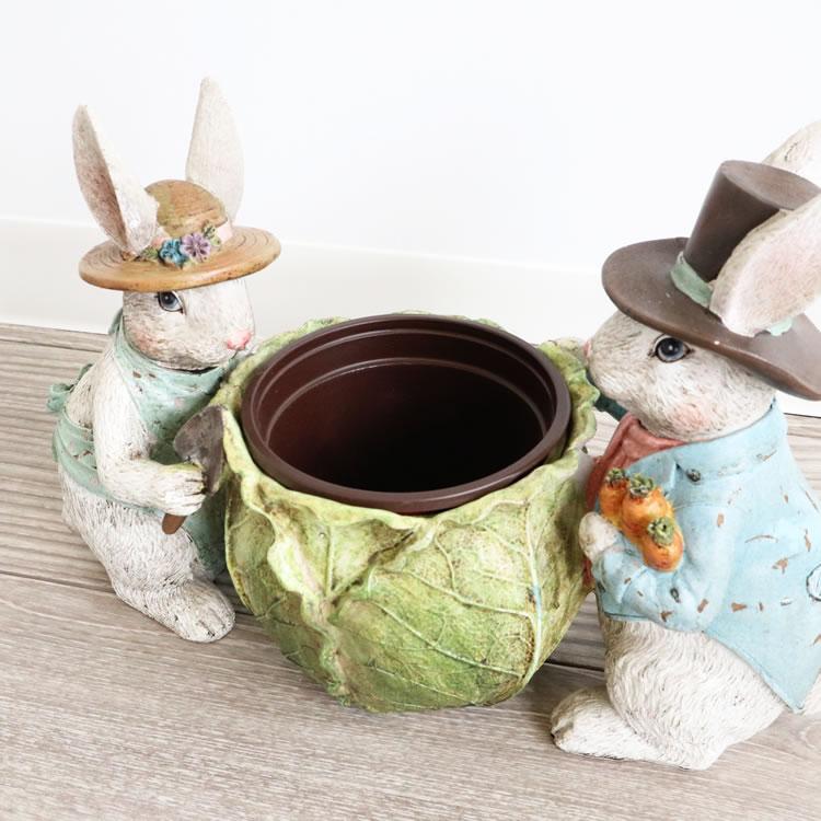 鉢カバー プランター 2匹のウサギ