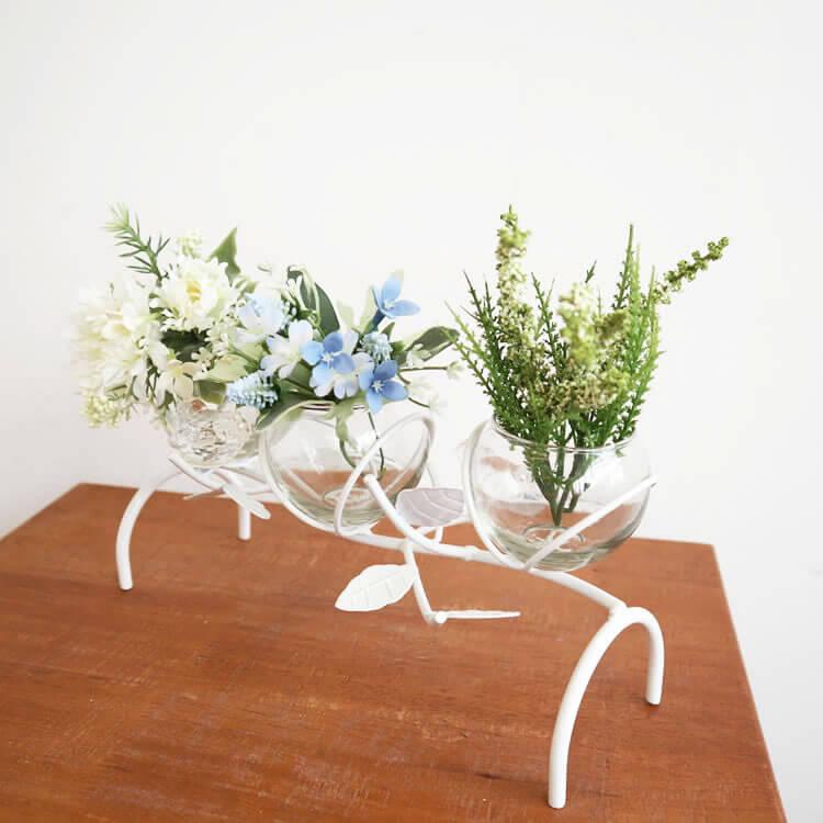 簡単セット 造花付き おしゃれなフラワーベース3カップ