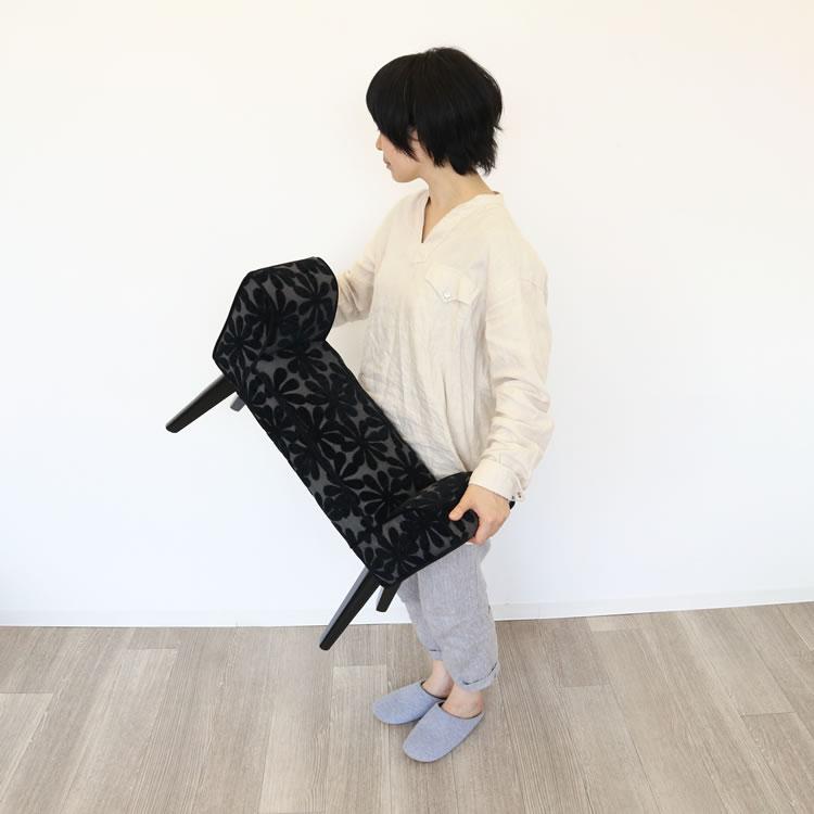 ベンチスツール S 花柄 ブラック