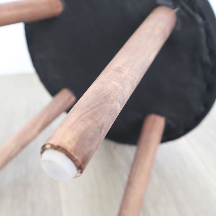 スツール おしゃれ インテリア | ラウンドスツール ブラック 丸形低め