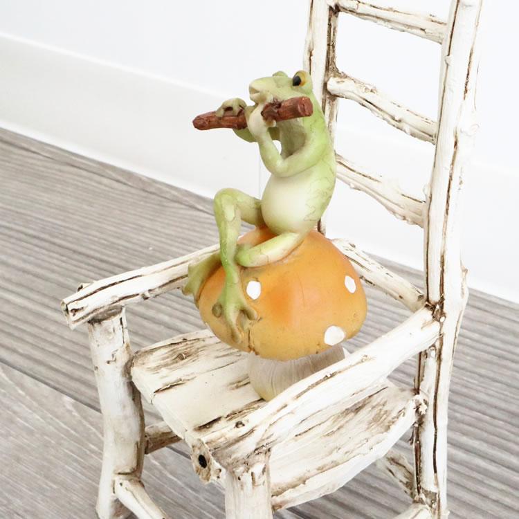 置物 オブジェ カエル&チェアー 笛