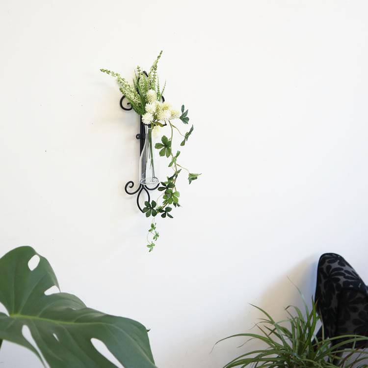 壁掛け花瓶 一輪挿し 造花セット シッサスアイビー