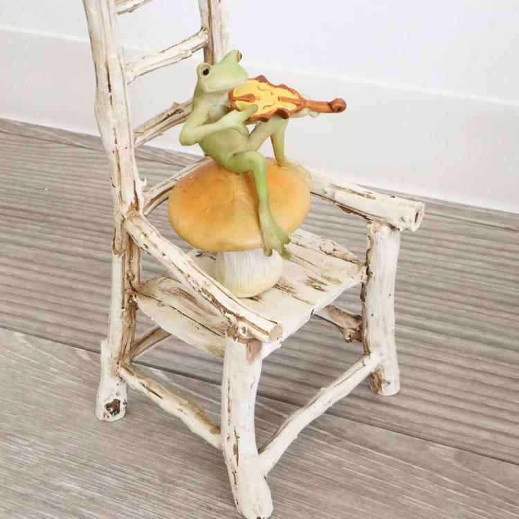 置物 オブジェ カエル&チェアー バイオリン