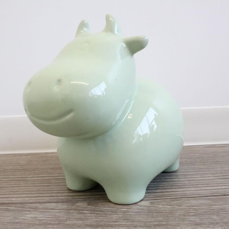 陶器貯金箱 ウシ ライトグリーン