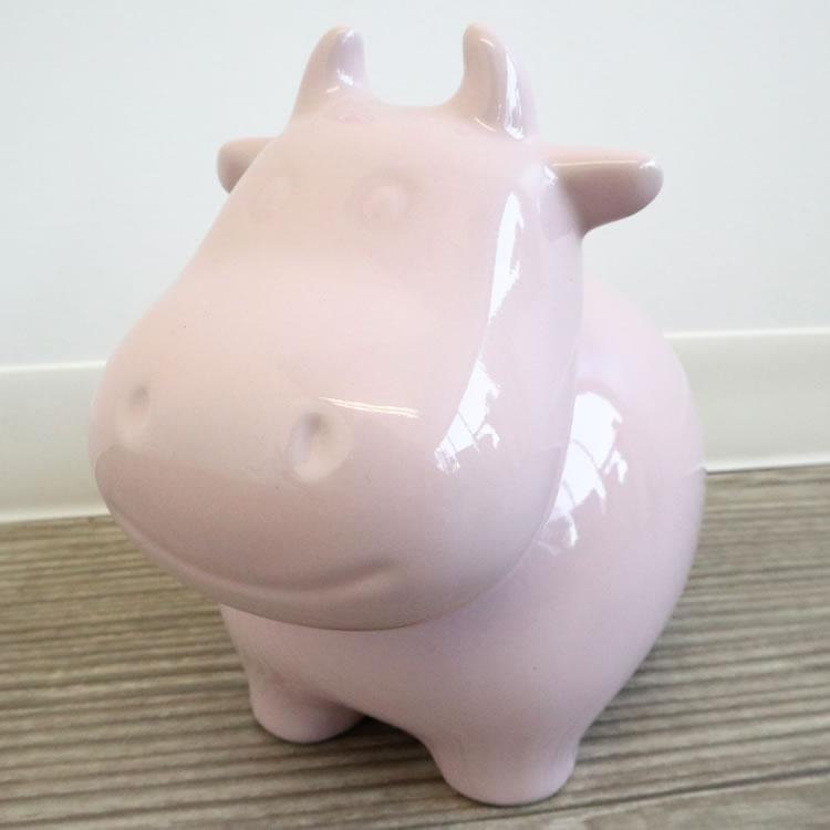 陶器貯金箱 ウシ ライトピンク