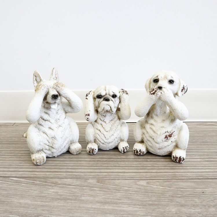 犬 置物 3個セット アンティーク調
