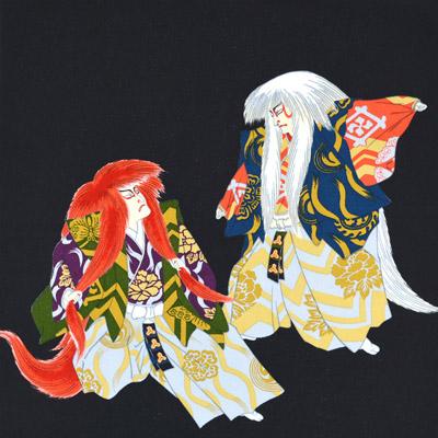 1595#601(京ちりめん風呂敷 浮世絵 連獅子)