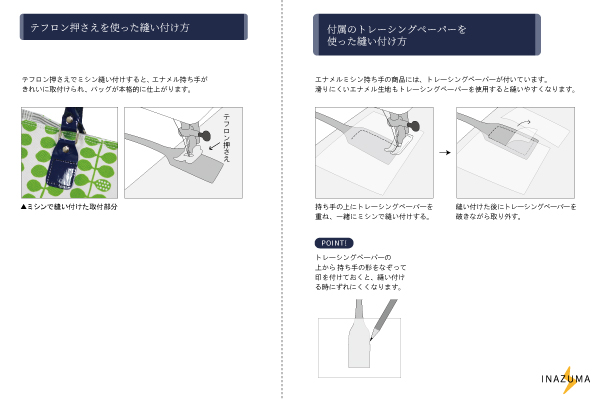 ESM-6514 ミシン縫いOK!エナメル生地持ち手(ミシンソーイング用持ち手)