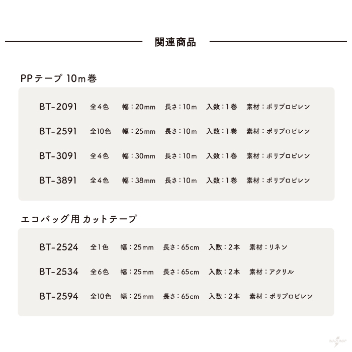 BT-3091(約30mm幅ポリプロピレンテープ 約10m)