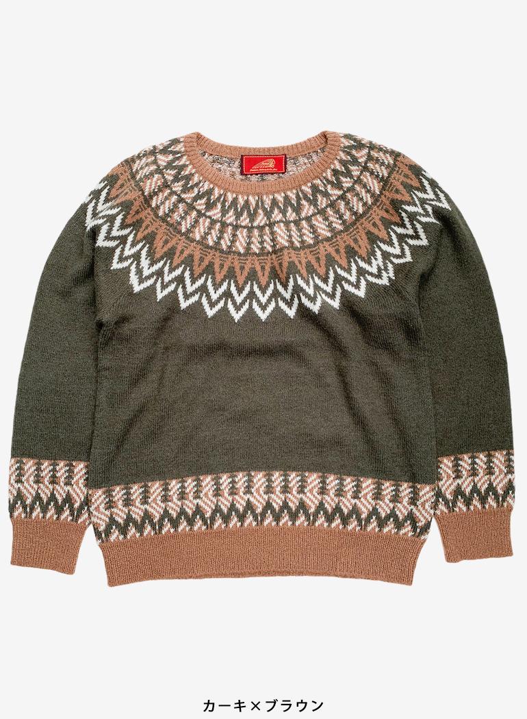 Centripetal Pattern Crew Neck Sweater