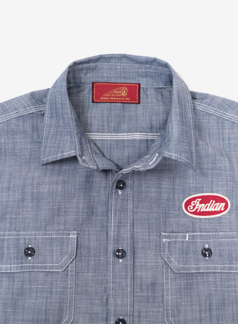 "S/S Patch Work Shirt ""Chambray"""