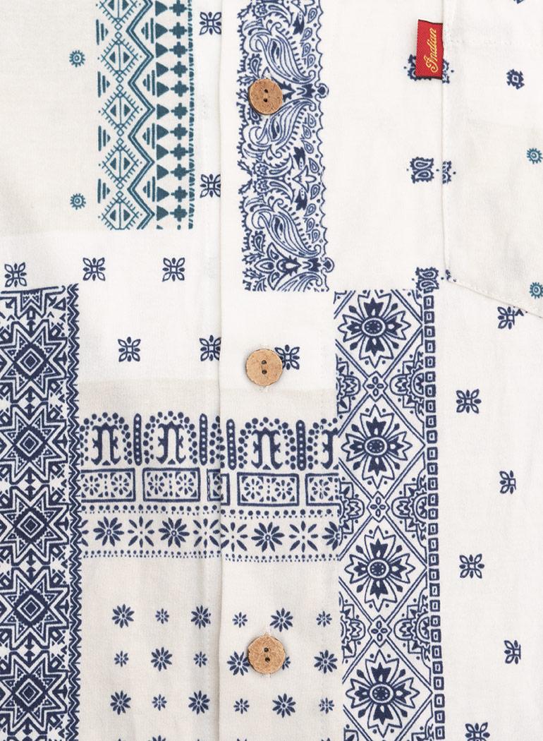 Bandana Print Open Collar Shirt