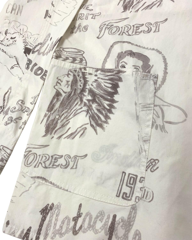 手描き風プリント カバーオール