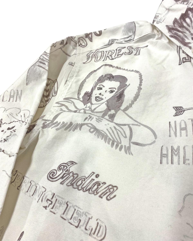 手描き風プリント ボタンダウンシャツ
