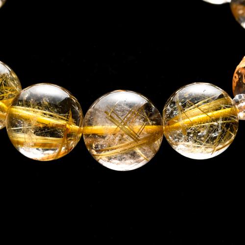 【小池浩セレクト】高品質ゴールドルチルクォーツ・ブレスレット・サイズ約18cm【KHS0020】