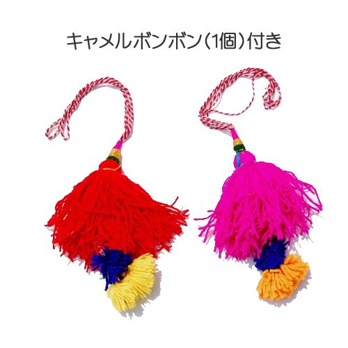 ・グジャラートEMBバッグ (キャメルボンボン付き)