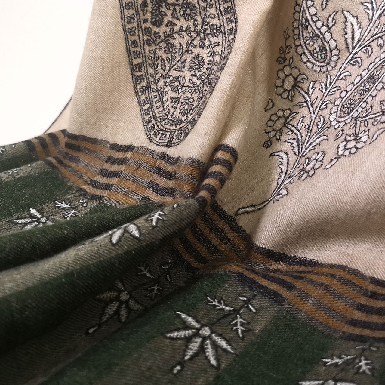 刺繍ショール パシュミナ カシミヤ  [100cm巾] ベージュ02 パーティー 誕生日 プレゼント 秋冬