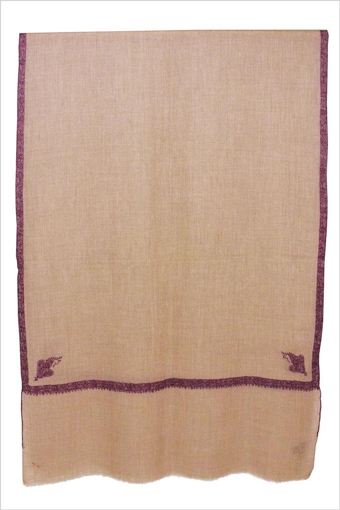 メンズ 刺繍ストール マフラー パシュミナ カシミヤ ナチュラルベージュ [70cm巾]  誕生日 プレゼント 秋冬