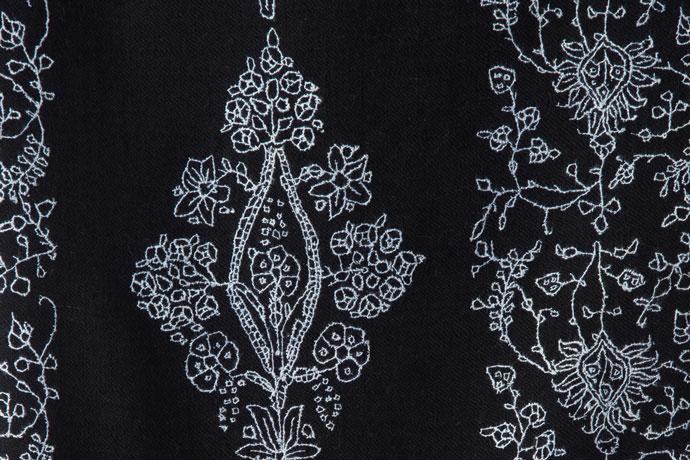 メンズ 刺繍ストール マフラー パシュミナ ナチュラル 黒(ブラック)   [70cm巾] 誕生日 プレゼント 秋冬