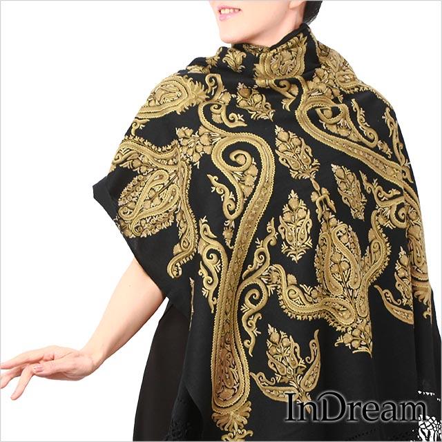 刺繍ストール アーリ 黒(ブラック)09 ギフト 誕生日 プレゼント 着物ショール