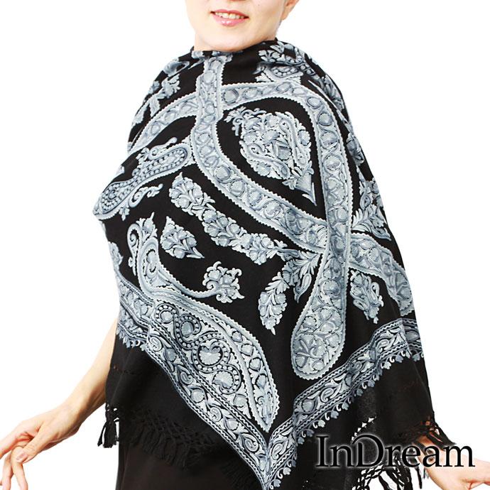 刺繍ストール アーリ 黒(ブラック) ペイズリー柄オーダースタイル ギフト 誕生日 プレゼント 着物ショール
