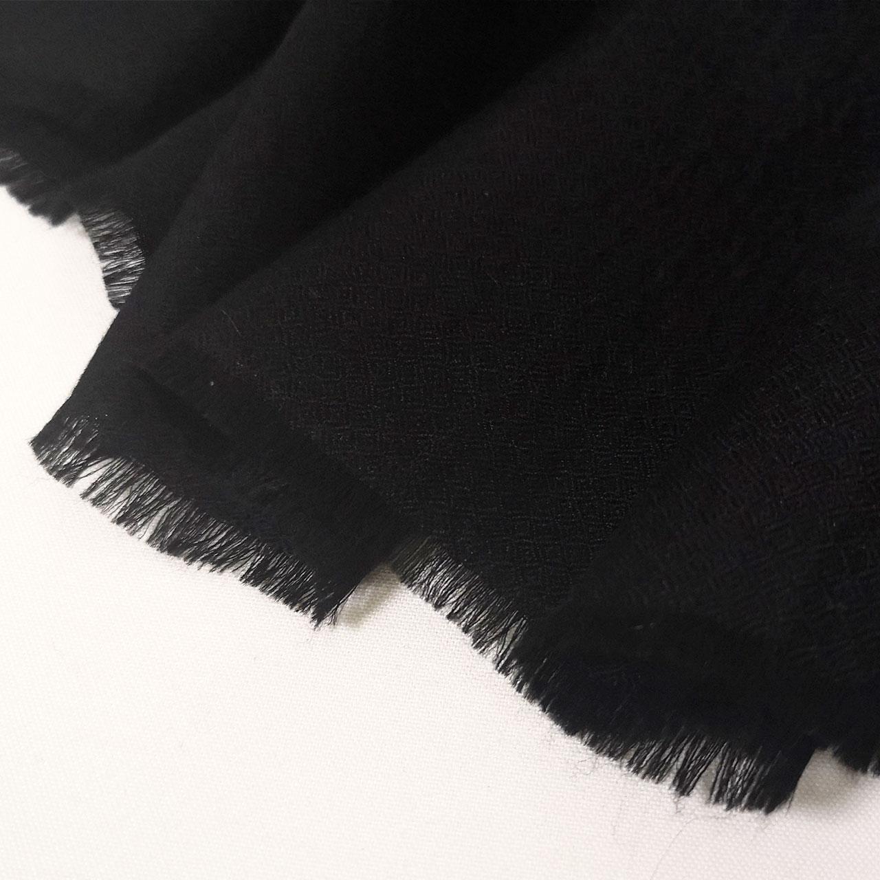 【SOLD OUT】メンズ 刺繍ストール マフラー パシュミナ カシミヤ  [100cm巾] 黒(ブラック)  クリスマス 誕生日 プレゼント 秋冬