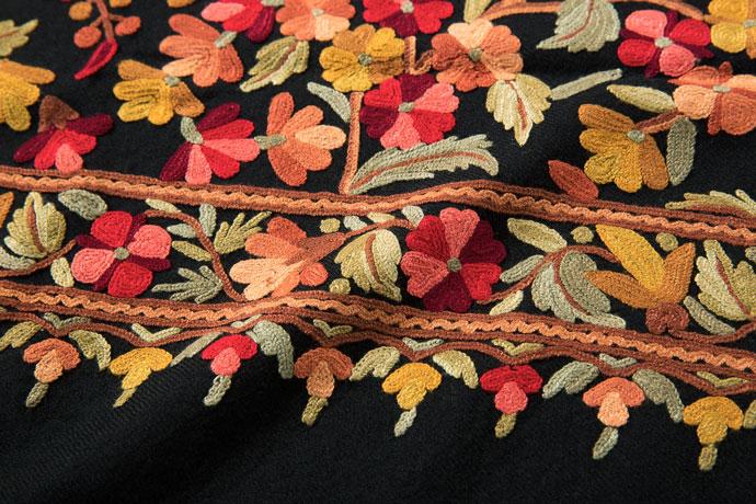 アーリ刺繍ストール 黒(ブラック)/レッド からし グリーン ブラウン