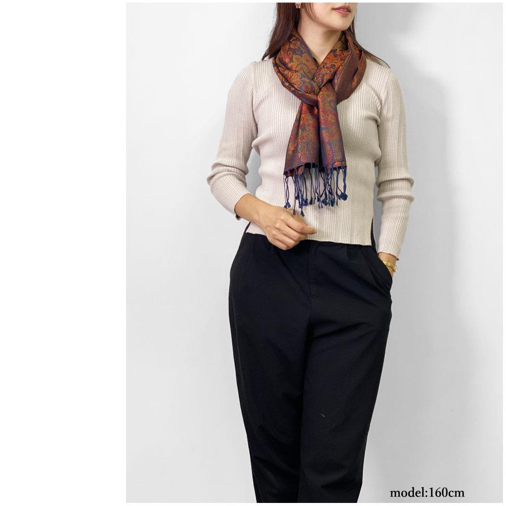 シルクストール スカーフ ペイズリー柄 細幅(36cm) ネイビー 春夏 大判 マフラー プレゼント