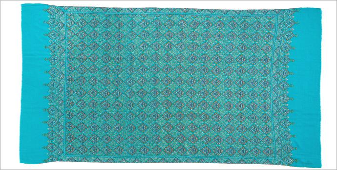 刺繍ショール パシュミナ カシミヤ  [100cm巾] 青(ブルー)02  パーティー 誕生日 プレゼント 秋冬
