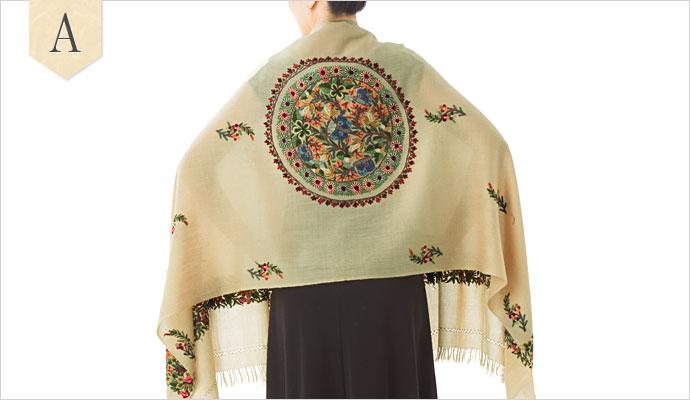 刺繍ストール アーリ サークル&ボーダー柄01 大判 厚手 ギフト 誕生日 プレゼント 着物ショール