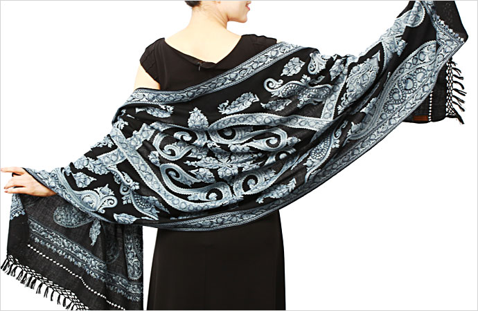 アーリ刺繍ストール 黒(ブラック) ペイズリー柄オーダースタイル