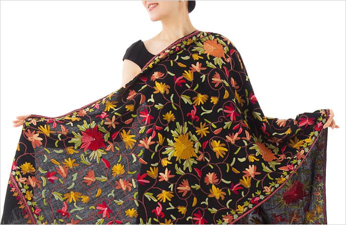 刺繍ストール アーリ 黒(ブラック) 黒 ギフト 誕生日 プレゼント 着物ショール