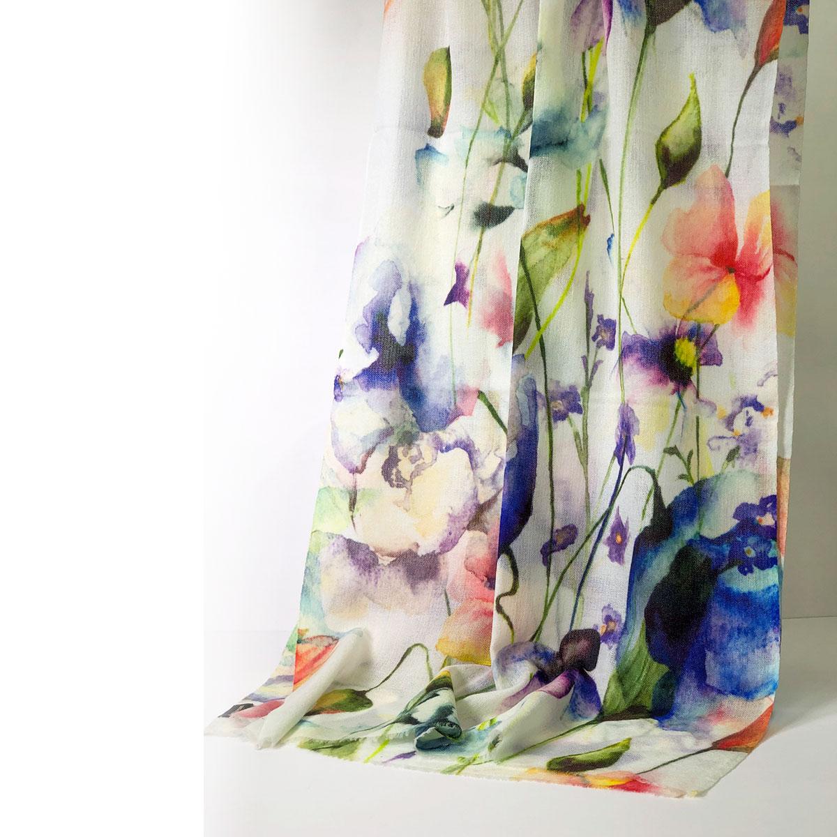 ストール ウール シルク カシミヤタッチ 花柄 プリント ブルーラベンダー ホワイト 誕生日 プレゼント