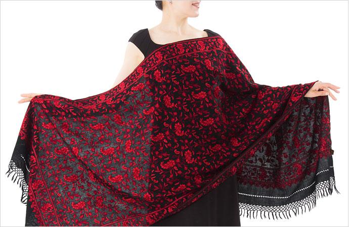 刺繍ストール アーリ 黒(ブラック)/レッド ギフト 誕生日 プレゼント 着物ショール