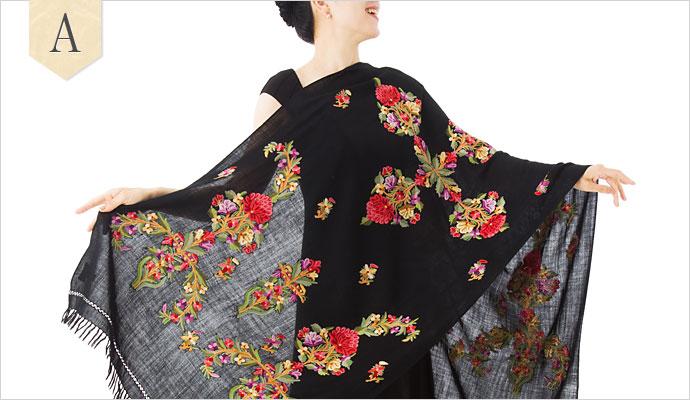 刺繍ストール アーリ ミドル01 大判 厚手 ギフト 誕生日 プレゼント 着物ショール