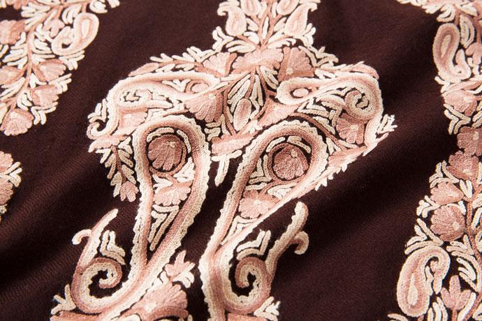 刺繍ストール アーリ バーガンディ/ベージュ ギフト 誕生日 プレゼント 着物ショール
