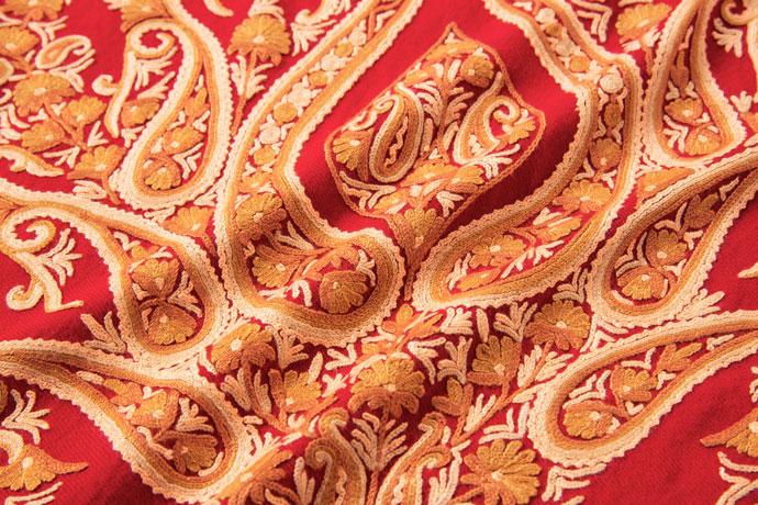 アーリ刺繍ストール 赤(レッド)/オレンジ