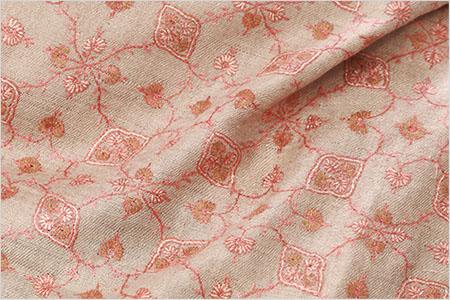 刺繍ショール パシュミナ カシミヤ  [100cm巾] キャメルベージュ パーティー クリスマス 誕生日 プレゼント 秋冬