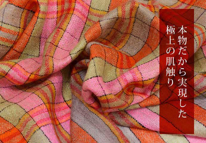 ストール パシュミナ マフラー 一点もの オレンジ01/ピンク/カーキ カシミヤ100% 秋冬 プレゼント