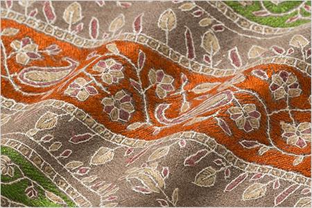SALE▼刺繍ショール パシュミナ カシミヤ  [100cm巾] ベージュ08  誕生日 プレゼント 秋冬