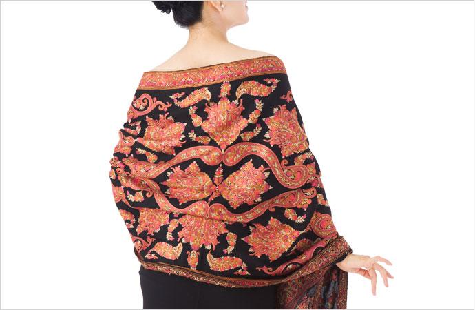 刺繍ストール アーリ 黒(ブラック)/レッド からし ギフト 誕生日 プレゼント 着物ショール