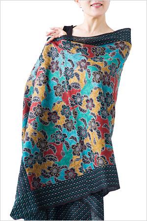 カンタ刺繍ストール Mサイズ ブラック/ブルー/イエロー/レッド
