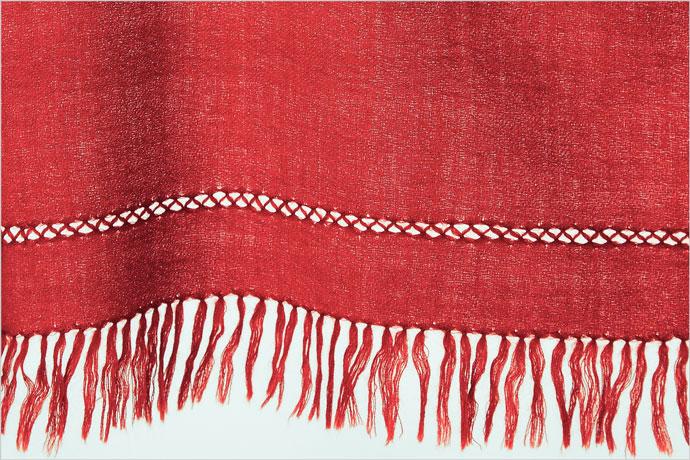 刺繍ショール 手針 ウール 小花柄 格子 赤(レッド)  秋冬 大判 プレゼント 着物ショール