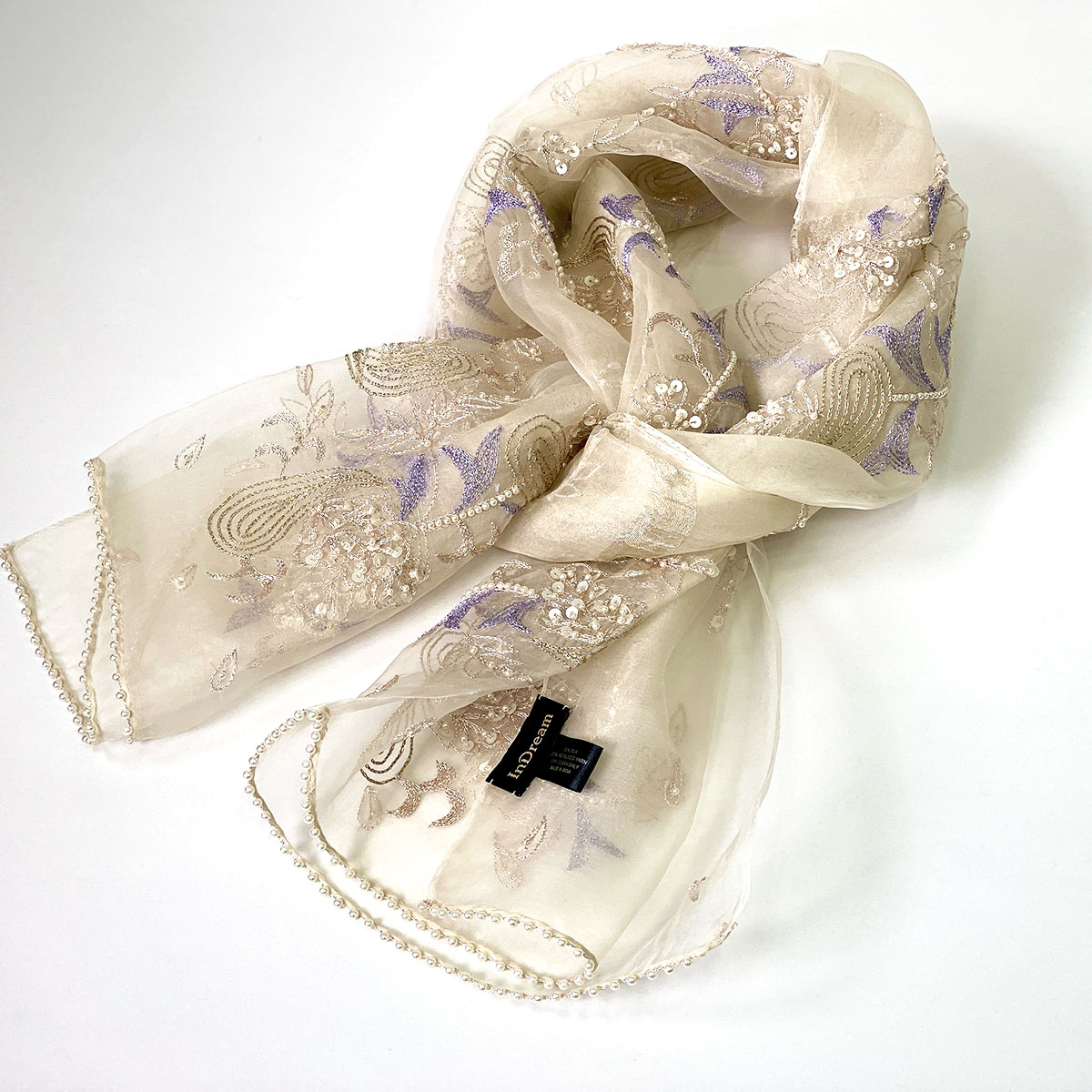 シルクオーガンジーストール スモーキーホワイト×ビジュー刺繍 古希お祝い 結婚式 パーティー クリスマス 誕生日 プレゼント