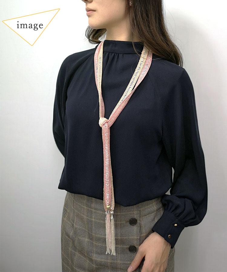 クロシェ編みビーズチョーカー(ラリエット)6色 ビーズ刺繍付 【代引&日時指定不可】
