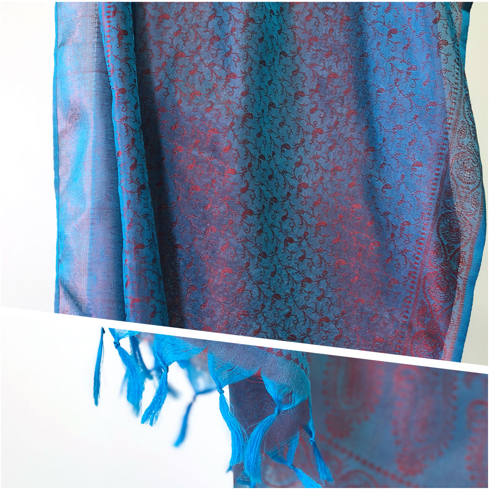 ストール シルク スカーフ 手織り ブルーフリンジ レディース メンズ 大判 マフラー クリスマス ギフト ペイズリー