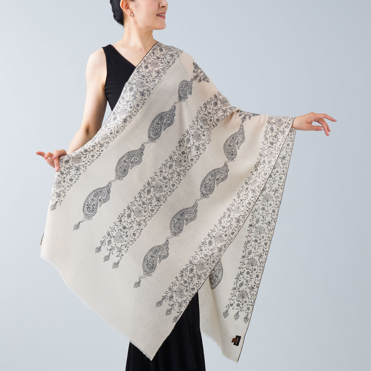 刺繍ストール パシュミナ ナチュラルベージュ [70cm巾] ベージュ04 パーティー 誕生日 プレゼント 秋冬