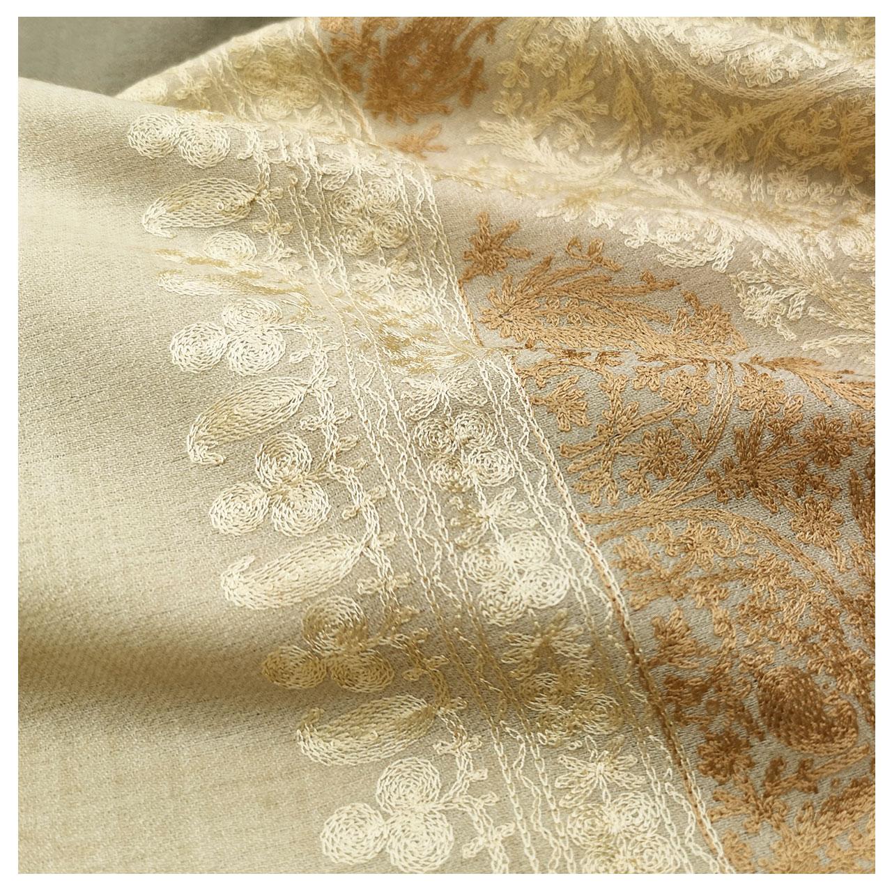 刺繍ストール ウール 大判 薄手 格子デザイン 機械刺繍   秋冬 大判 プレゼント パーティー 着物ショール
