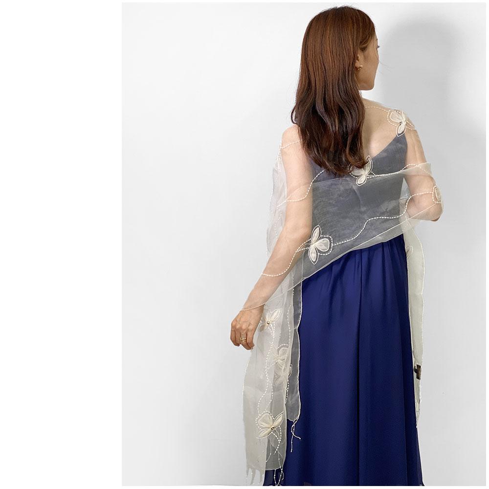 ストール パーティー 結婚式 刺繍 シルク オーガンジー 白(ホワイト)05 クリスマス 誕生日 プレゼント