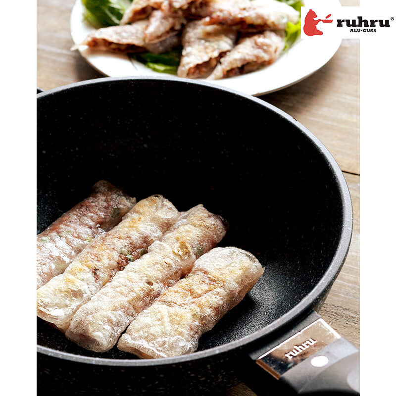 【24cm深型 IH】 ruhru(ルール)健康フライパン 24cm x 7.5cm 深鍋 IH&直火用